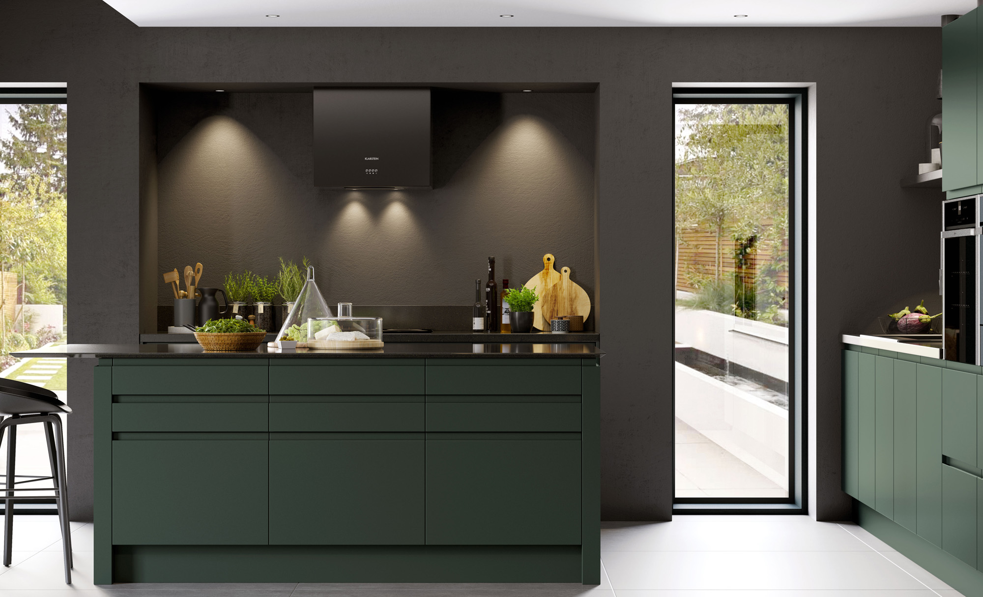 modern-contemporary-strada-matte-deep-forest-kitchen-hero